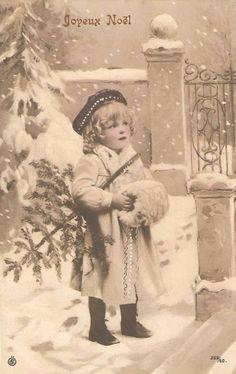 Vintage Joyeux Noel postcard with child