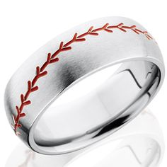 How cool would this be for the baseball lover in your life!!!    Fable Designs Titanium Half Round Milled Baseball with Red Enamel Wedding Band