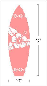 Surfboard w/ hibiscus hawaiian flowers Vinyl Wall Art Decal