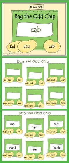 There are three closed syllable words on each bag of chips. Closed syllable words are CVC type word forms such as: VC, VCC, CVCC, CCVC, CCVCC. Students are to read the words, and the word that does not rhyme is the word they are to write inside the white box on the chip bag. Kindergarten Reading Activities, Reading Resources, Teacher Resources, Kindergarten Teachers, Word Sorts, Emergent Readers, Cvc Words, Common Core Math, Letter Recognition