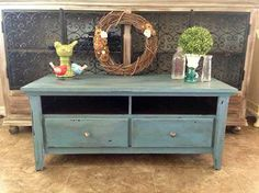 Tv Stand Refinished in Miss Mustard Seed's French Enamel Milk Paint then dark waxed