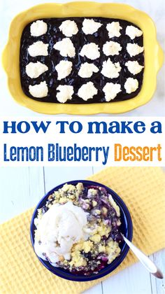 How to Make a Blueberry Dump Cake! Sweet, tart, and all around crave-worthy, you're going to love this tasty dessert. Plus, it only takes a few basic ingredients to make, too! Lemon Blueberry Dump Cake Recipe, Lemon Blueberry Cheesecake, Blueberry Dump Cakes, Lemon Dessert Recipes, Blueberry Desserts, Dump Cake Recipes, Delicious Desserts, Easy Recipes, Popular Recipes