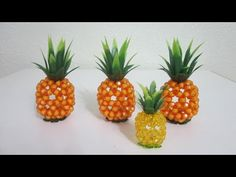 CNY TUTORIAL NO. 35 - Bead Craft (Sitting Pineapple) - YouTube