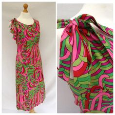 1960's psychedelicmaxi dress  gogo pink  by DottysVintage on Etsy