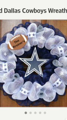 Personalized Dallas Cowboys Wreath with Logo by AvaLoryn on Etsy. Easily adapted to any team Dallas Cowboys Crafts, Dallas Cowboys Wreath, Football Crafts, Football Wreath, Dallas Cowboys Football, Wreath Crafts, Diy Wreath, Snowflake Wreath, Cowboy Crafts