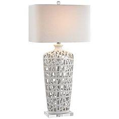 Modern Nest High Gloss White Ceramic Table Lamp   #9V548 | Lamps Plus