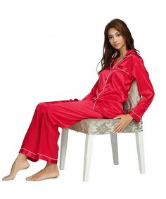 Womens Silk Satin Pajamas Set Sleepwear Loungewear XS~3XL Plus - Red -  CR12EURBQXZ. Christmas Wishlist 2018Satin Pyjama ... f14b863a5