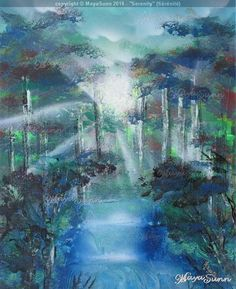 Forest serenity hope waterfall rays of light Flash Art, Buy Prints, Oeuvre D'art, Les Oeuvres, Serenity, Waterfall, Painting, Painting Art, Rain