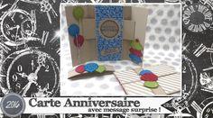 """Vidéo-Tuto """"Carte Anniversaire avec Message Surprise"""" par Coul'Heure Papier"""