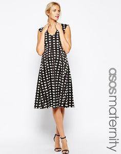 ASOS Maternity Midi Scuba Skater Dress in Brushed Print