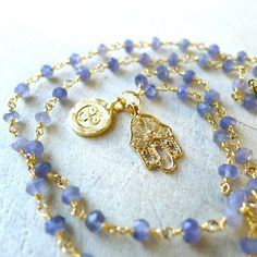 """16"""" Iolite Beaded Rosary Necklace with Tiny Gold #Om and #Hamsa Charms by 137point5"""