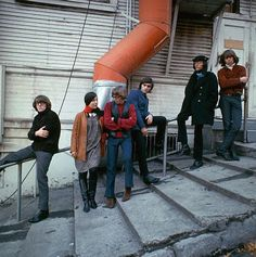 Jefferson Airplane, before Grace and Spencer. From left to right - Paul Kantner, Signe Anderson, Jack Casady, Marty Balin, Jorma Kaukonen, and Skip Spence. The first Jefferson Airplane line-up to record.