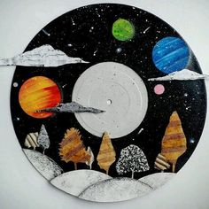 """Fantasy Galaxy Landscape Art on a Recycled 12"""" Vinyl Record in Art, Direct from the Artist, Paintings 