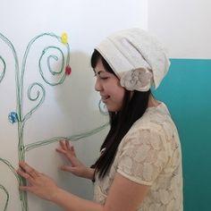 コットンレースのターバン風帽子(ホワイト)
