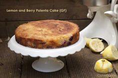 Lemon and Berry Polenta Cake (Gluten Free) – cakeboule Gluten Free Cakes, Gluten Free Baking, Vegan Baking, Gluten Free Desserts, Just Desserts, Gluten Free Recipes, Delicious Desserts, Lemon Polenta Cake, Polenta Cakes