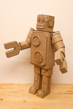 Cardboard Robot by MarkofBrien on Etsy Cardboard Robot, Cardboard Box Crafts, Cardboard Sculpture, Cardboard Paper, Cardboard Furniture, Paper Crafts, Paper Robot, Cardboard Playhouse, Robot Costumes
