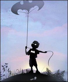 « Kids are Superheroes » est une série d'illustrations magnifiques de l'artiste Andy Fairhurst sur l'univers imaginaire des enfants qui s'improvisent super-héros le temps d'un jeu. De Batman à Superman en passant par Iron Man ou Wolverine, une jolie série à la façon des ombres chinoises ! via @weLoveUfunk