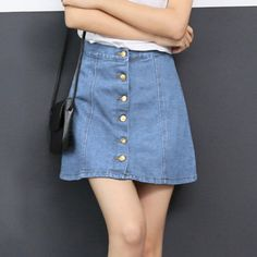 79a0fa705be3 Dioufond New Solid High Waist Skirt Denim Blue Casual Above Knee Length Skirts  Women A Line Patchwork Ladies Skirt 2017 Spring-in Skirts from Women's ...