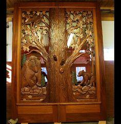 Hand Made Carved Bear Doors by Hugo Mesa Studio | CustomMade.com