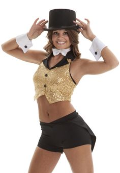 Woman's tuxedo inspired costume with vest and bowtie! Broadway theme costume for dance. Or a great Halloween costume! Siegfried
