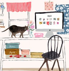 Anthropologie Blog Illustration - Emily Isabella, illustration, studio, design, mac, cat, desk, drawing, painting