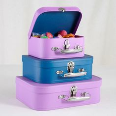 The Land of Nod | Kids Storage: Aqua and Pink Storage Suitcases in Storage Collections