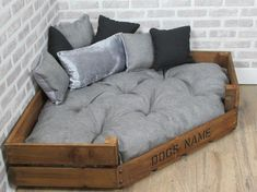 XL Personalised Rustic Wooden Corner Dog Bed In Grey Fabric Diy Dog Bed, Diy Bed, Wood Dog Bed, Pet Beds Diy, Dog Bed Frame, Pallet Dog Beds, Rustic Dog Beds, Farmhouse Dog Beds, Dog Room Decor