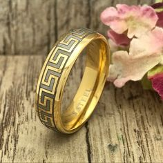 Greek Key Ring, Gold Plated Stainless Steel Wedding Ring, Personalized Engrave Stainless Steel Ring with Greek key Design Wedding Dresses Men Indian, Wedding Dress Men, Wedding Men, Wedding Bands, Gold Bangles, Gold Rings, The Ring 1, Greek Key, Key Design