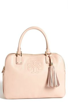 Pastel blush pink Tory Burch leather satchel.