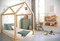 A house-framed floor bed in a Montessori-Inspired Toddler Room - Photo via RockRoseWine. Learn how to create a safe and educational Montessori bedroom or nursery for your little one using these simple tips. Big Girl Rooms, Boy Room, Kids Rooms, Child's Room, Toddler Rooms, Room Kids, Small Rooms, Cool Beds For Kids, Kid Beds