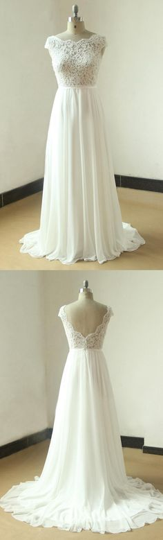 Ivory A Line Chiffon Sheer Lace Wedding With Scallop Back Dress
