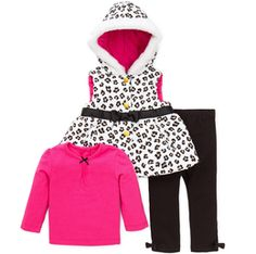 Girls 3 Piece Jacket Set- Leopard Print