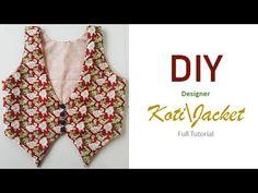 DIY Very Stylish Designer KotiJacket Cutting And Stitching Tutorial - Jackets Kurti Neck Designs, Dress Neck Designs, Blouse Designs, Dress Sewing Patterns, Clothing Patterns, Pattern Sewing, Stitching Dresses, Sewing Shirts, Cute Coats