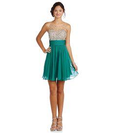 JVN By Jovani Illusion Bodice Beaded Dress   Dillard's