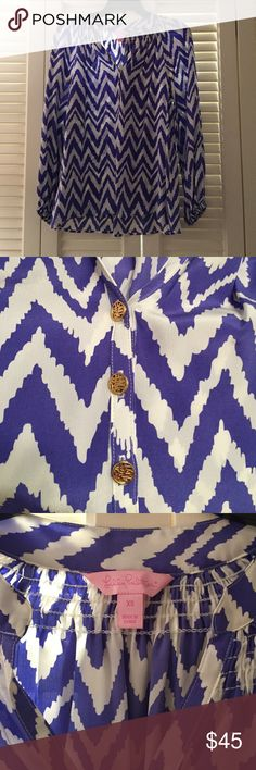 """Lilly Pulitzer """"Elsa"""" chevron blouse Like new (worn twice). XS rouched neckline and cuffs, 3 gold buttons down the front. Picture on model of different print. Lilly Pulitzer Tops Blouses"""