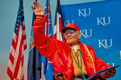 Chester Nez, 91, waves to the audience after receiving his Bachelor of Fine Arts degree during a special recognition ceremony Monday, November 12, 2012 at the Lied Center. Nez is the last survivor of the original 29 Navajo code talkers from World War II. (Photos courtesy Kevin Anderson Photography)