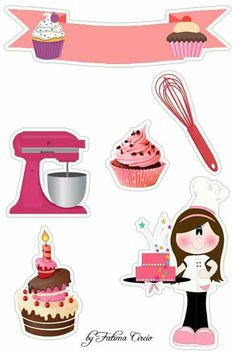 Aninha Scrapbook Recipe Book, Scrapbook Paper, Scrapbooking, Deco Stickers, Diy And Crafts, Paper Crafts, Baking Party, Collage Sheet, Cupcake Toppers
