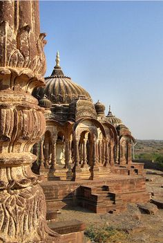 Chhatris (royal women's cremation monuments) near Jodhpur, Rajasthan, India.  © Judith Sylte, 1995