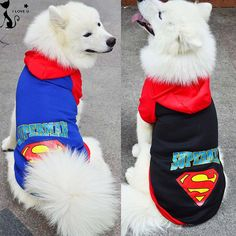 Large Pet Dog Clothes Superman Big Dog Coat Jacket With Hooded Sport Golden Retriever Clothing Winter Pet Outwears 2XL-9XL 114 // Worldwide FREE Shipping //     #dogs