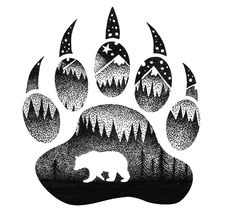 Tatouage maorie, personnaliser un tatou avec un dessin fait maison, pate d'o. Native Art, Native American Art, Art Drawings Sketches, Animal Drawings, Bear Paw Tattoos, Grizzly Bear Tattoos, Moose Tattoo, Stippling Art, Spirit Bear