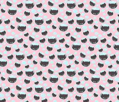 Little Pink Kitty Bubbles fabric by lovekittypink on Spoonflower - custom fabric