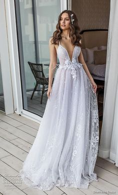 "dimitrius dalia 2018 royal sleeveless thn strap deep sweetheart neckline full embellishment romantic sexy soft a line wedding dress open back sweep train (9) mv -- Dimitrius Dalia ""Royal"" Wedding Dresses 