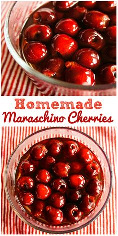 Homemade Maraschino Cherries – The Weary Chef - Obst Desserts Canning Recipes, Candy Recipes, Fruit Recipes, Dessert Recipes, Nutella Recipes, Marachino Cherries, Cherry Recipes, Jam And Jelly, Fruit Dishes