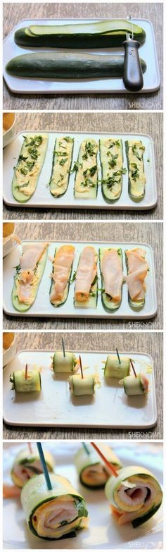 """Good protein snacks Cucumber rollups with hummus and turkey [can use zucchini too] #lowcarb #healthy #protein """"cucumbers (or use zucchini) 1-1/2 cups low-fat Greek yogurt (or use hummus) 1 tablespoon curry powder 1 tablespoon lime juice salt and pepper 1 tablespoons herbs, such as cilantro,if desired ham or turkey if desired """""""