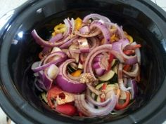 Crock Pot Balsamic Chicken  - 4-5 frozen chicken breasts  - 2 small yellow squash  - 1 medium zucchini  - 1 medium purple onion  - Assorted bell peppers  - 2 tbsp Worcestershire sauce  - 1/4 cup Balsamic vinegar  Put everything in cock pot. Cook on high for 4 hours then simmer until ready to eat