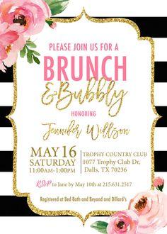 Kate Brunch And Bubbly Bridal Shower Invitation Printed Spade Invitations Black White Striped Fl