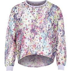 Girls pink smudge floral print sweatshirt