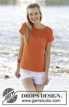 Orange Dream Top - Top knitted top down with raglan, lace pattern on yoke and A-shape in DROPS Safran. Size: S - XXXL Free pattern DROPS 178-45