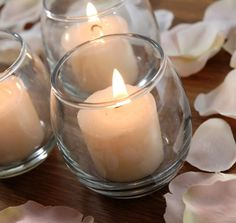 Votive candle holders - Clear and blue