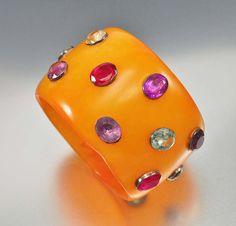 Butterscotch Amber Gemstone Bakelite Bracelet Mark Davis Style – Boylerpf